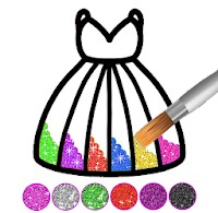 لعبة تلوين ورسم الفستان Glitter dress coloring and drawing book for Kids